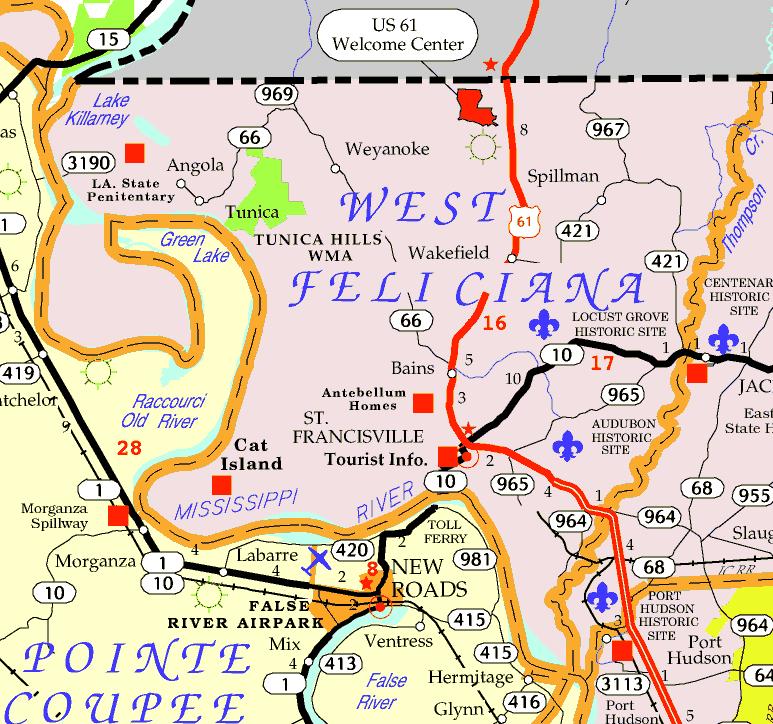 DOTD Tourism Map of West Feliciana Parish